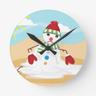 christmas in july snowman round clock