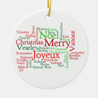 Christmas in many languages ceramic ornament