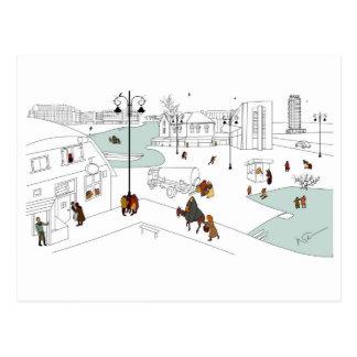 Christmas in modern city postcard
