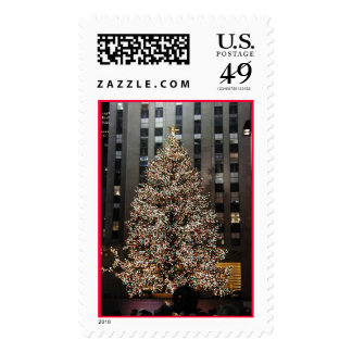 Christmas in NYC - Rockefeller Center Tree Postage Stamp