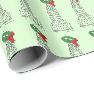 Christmas in NYC Skyscraper Wreath Holiday Wrap Wrapping Paper