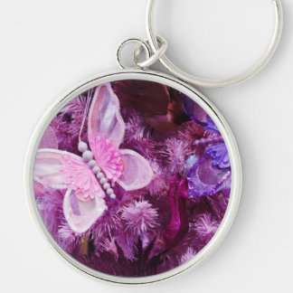 Christmas In Pink And Purple Keychain
