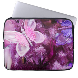 Christmas In Pink And Purple Computer Sleeve