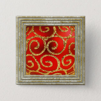 Christmas In Red And Gold Button