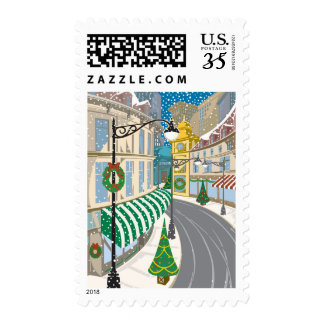 Christmas in the city  Color  Illustrator Postage Stamps