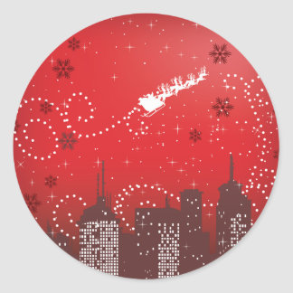 Christmas in the city customizable urban classic round sticker