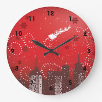 Christmas in the city customizable urban large clock