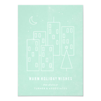 Christmas in the City Holiday Card - Mint Personalized Invite