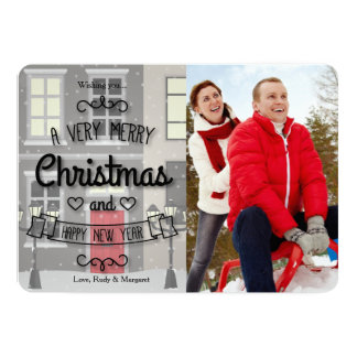 """Christmas In The City Holiday Photo Card 5"""" X 7"""" Invitation Card"""
