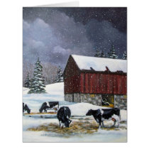 Christmas in the Country, Holstein Cows Painting Card