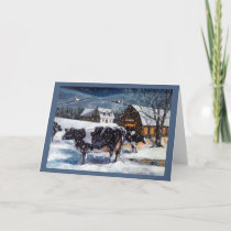 Christmas in the Country, Holstein Cows Painting Holiday Card