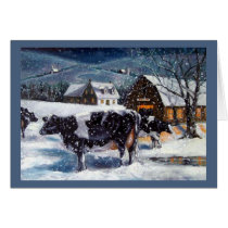 Christmas in the Country, Hostein Cows Painting Card