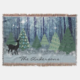Christmas in the Forest Throw Blanket