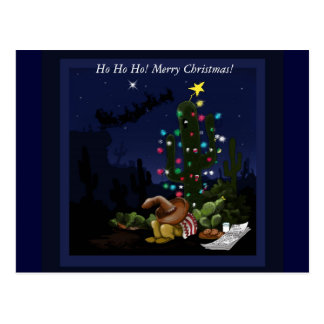 Christmas in the southwest lit up cactus postcard