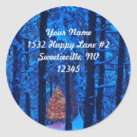 Christmas In The Woods Address Sticker at Zazzle