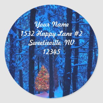 Christmas In The Woods Address Sticker by HolidayBug at Zazzle