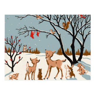 Christmas in the Woods Postcard