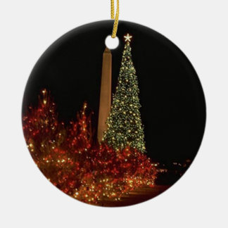 Christmas in Washington DC Double-Sided Ceramic Round Christmas Ornament