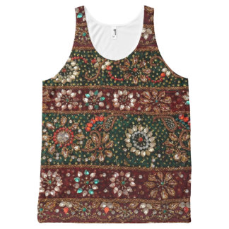 Christmas India Indian Textile Embroidery Bling All-Over Print Tank Top
