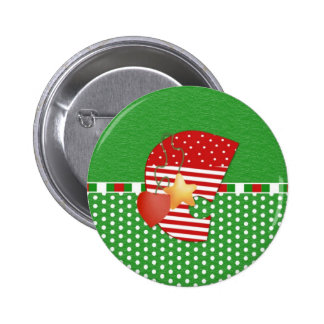 Christmas Initial C 2 Inch Round Button