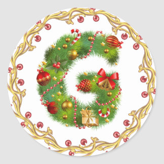 christmas initial G monogram sticker