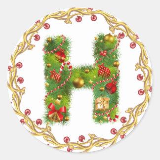 christmas initial H monogram sticker