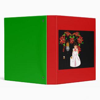 Christmas Interracial Wedding Couple Heart Wreath Binder