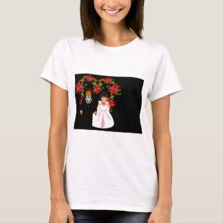 Christmas Interracial Wedding Couple Heart Wreath T-Shirt