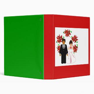 Christmas Interracial Wedding Couple With Wreath Vinyl Binder