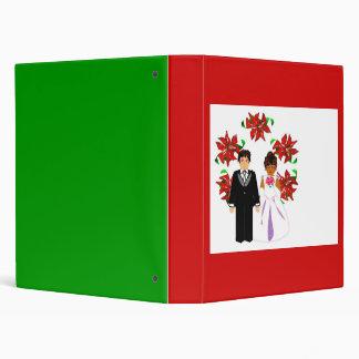 Christmas Interracial Wedding Couple With Wreath Binder
