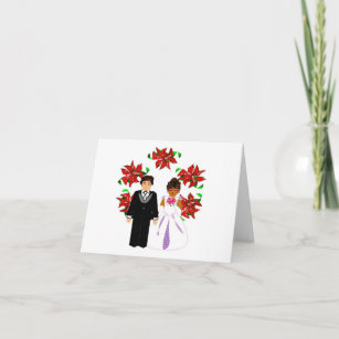 Interracial cards zazzle christmas interracial wedding couple with wreath holiday card m4hsunfo