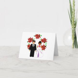 Christmas Interracial Wedding Couple With Wreath Holiday Card