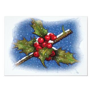 CHRISTMAS INVITATION: CAROL SING: HOLLY, BERRIES CARD