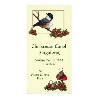 CHRISTMAS INVITATION: Chickadee: Carol Sing Card