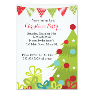 Christmas Invitation Holiday Tree Gifts