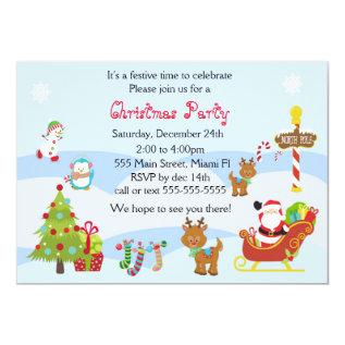Christmas Invitation Kids Party Snowman Santa at Zazzle