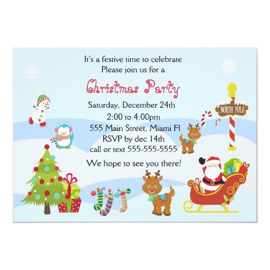 Christmas Children Party: Christmas Invitation Kids Party Snowman Santa