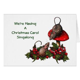 Christmas Invitation: Mice on Mushroom, Holly, Card