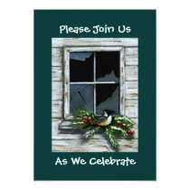 CHRISTMAS INVITATION: RUSTIC: BIRD: ART CARD