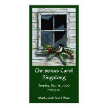 CHRISTMAS INVITATION: RUSTIC: CHICKADEE: ART CARD