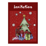 """Christmas invitation with tree and gifts 5"""" x 7"""" invitation card"""