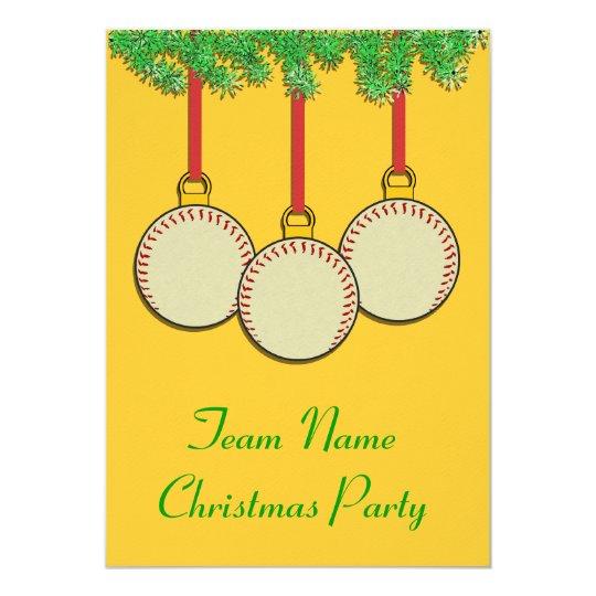 Christmas Invitations for Baseball or Softball