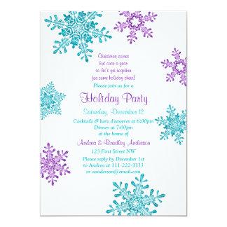 "Christmas Invite | Purple Turquoise Snowflake 5"" X 7"" Invitation Card"