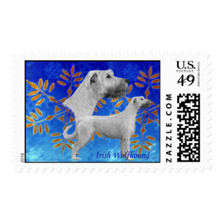 Christmas Irish Wolfhound - Blue Postage