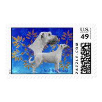 Christmas Irish Wolfhound - Blue Postage