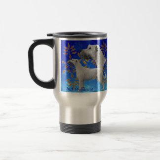 Christmas Irish Wolfhound  - Blue Travel Mug