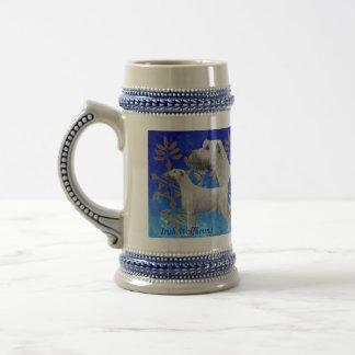 Christmas Irish Wolfhound in Blue Beer Stein