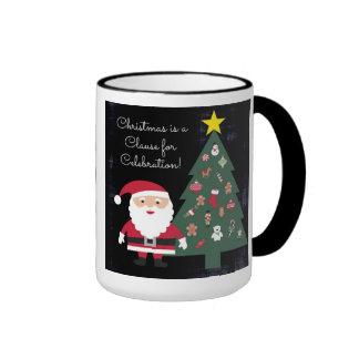 Christmas is a Clause for Celebration Ringer Mug