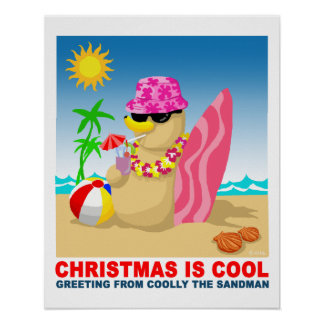 Christmas is cool, greeting from coolly the sandma poster