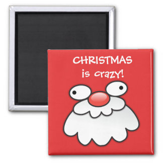 Christmas is CRAZY! santas silly face magnet